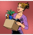 New job business lady comes to the office vector image