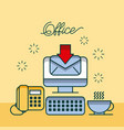office computer receiving email telephone coffee vector image
