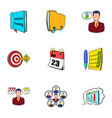Office information icons set cartoon style