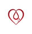 red heart icon shape with water drop inside vector image vector image