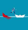 robot escaping sunken paper boat ship concept vector image vector image