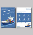 sea shipping poster template set vector image vector image