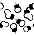 Seamless pattern of handcuffs silhouettes on vector image vector image