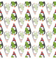 seamless pattern with cute penguins holding a tree vector image vector image