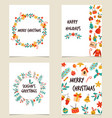 set colorful christmas cards with decorative vector image