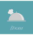 Silver platter cloche and chefs hat vector image