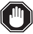 Stop gesture sign black vector image vector image