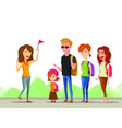 tour vacation with guide cartoon comic vector image vector image