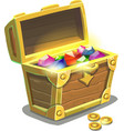 Treasure chest full of jewels vector image