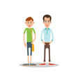two guys stand nearby and smile vector image vector image