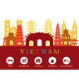 vietnam landmarks skyline with accommodation icons vector image vector image