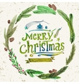 Watercolor Christmas greeting card with wreath of vector image