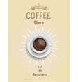Realistic cup of black coffee with hand drawn vector image