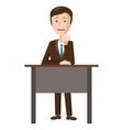 Businessman sitting in office icon cartoon style vector image