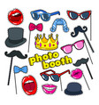 photo booth props with lips hat and eyeglasses vector image