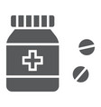 pills bottle glyph icon medical and healthy vector image