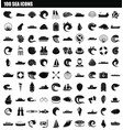 100 sea icon set simple style vector image