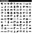 100 sea icon set simple style vector image