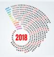 2018 calendar print template spiral calendar set vector image