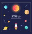 abstract space sun moon planet rocket earth vector image vector image