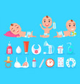 baby and objects for kid care vector image vector image