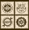 bicycle shop and service four colored emblems vector image vector image