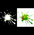 black drops ink and yellow-green watercolor vector image