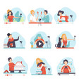 blogging and vlogging set people demonstrating vector image vector image