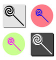 candy lollipop flat icon vector image vector image