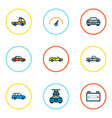 car icons colored line set with car speedometer vector image vector image