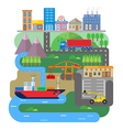 cargo or shipping from ship to city vt vector image