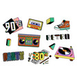 colorful 80s and 90s sticker set - retro boombox vector image vector image