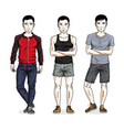 confident handsome men posing in stylish vector image vector image