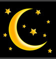 crescent moon and star symbol icon design vector image