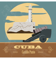 Cuba landmarks Retro styled image vector image