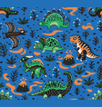 Cute cartoon dinosaurs seamless pattern in red vector image