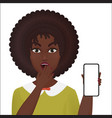 cute surprised young african american female vector image