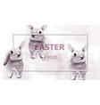 easter bunny rabbits watercolor cute vector image