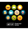 Flat icons set 37 - food and drink collection vector image vector image