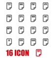 grey file type icon set vector image vector image