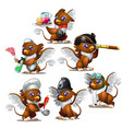 griffins in six different characters vector image