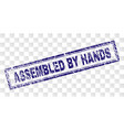 grunge assembled by hands rectangle stamp vector image vector image