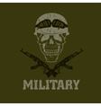 grunge military emblem with skull and automatic vector image