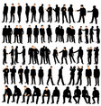isolated silhouette man go stand set vector image vector image