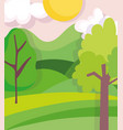 landscape nature tree clouds sun meadow background vector image