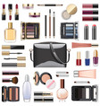 makeup cosmetics with black handbag vector image vector image