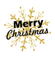 merry christmas lettering with golden ornaments vector image vector image