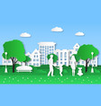 paper eco city family with kids in green natural vector image vector image