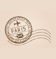 paris mail stamp old faded retro styled impress vector image vector image