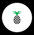 pineapple fruit simple black and green icon eps10 vector image vector image